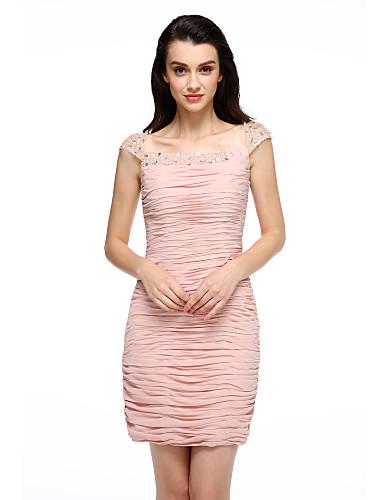 kappe / kolonne fra skulderkort / mini chiffon cocktail party kjole med side draping