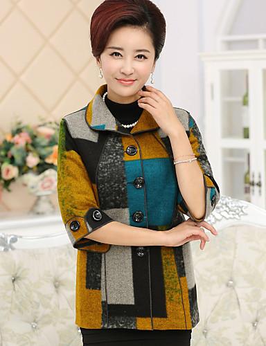 女性 カジュアル/普段着 / プラスサイズ 冬 カラーブロック コート,シンプル レッド / イエロー ウール / コットン 長袖