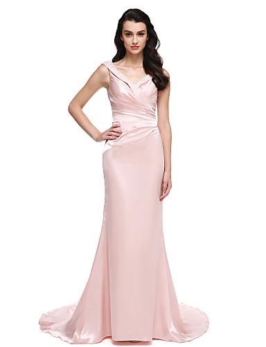 Havfrue V-hals Børsteslæb Stræksatin Formel aften Kjole med Perlearbejde / Krystaldetaljering ved TS Couture®