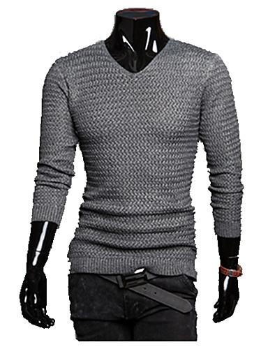 Hombre Diario Un Color Manga Larga Regular Pullover, Escote Chino Otoño / Invierno Gris oscuro / Gris Claro L / XL / XXL