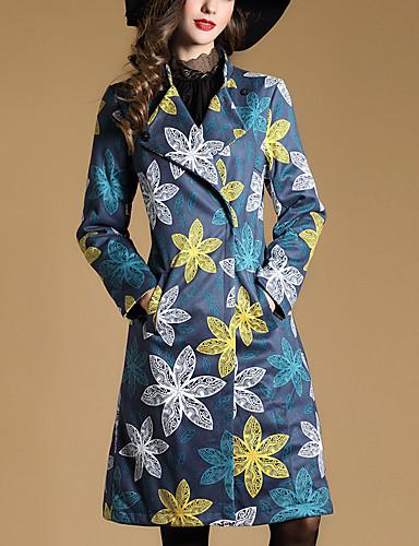 女性 お出かけ 冬 チェック トレンチコート,シンプル スタンド ブルー ポリエステル 長袖