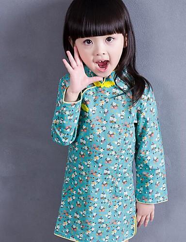 Menina de Vestido Diário Floral Primavera Outono Algodão Manga Longa Floral Verde Azul