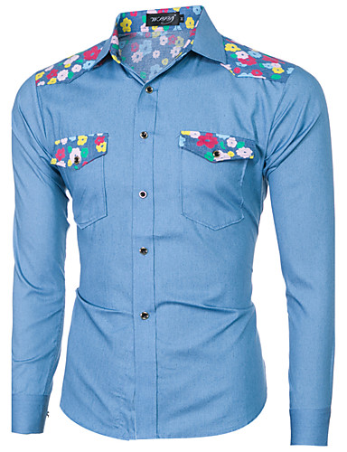 Homens Camisa Social - Bandagem Vintage Ganga, Floral Geométrica Estampa Colorida Algodão
