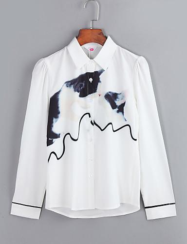 Vrouwen Eenvoudig Lente / Herfst Overhemd,Casual/Dagelijks / Grote maten Print Overhemdkraag Lange mouw Wit Polyester / Spandex Dun