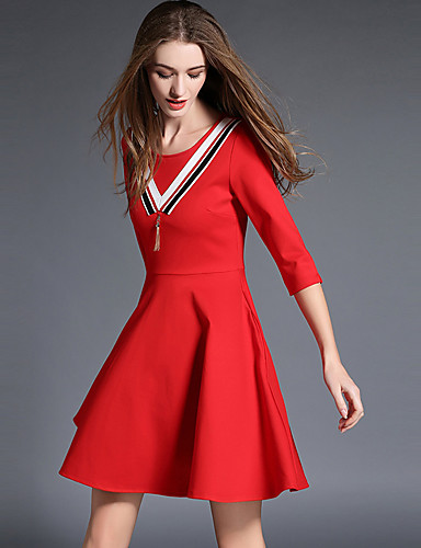 レディース シンプル カジュアル/普段着 プラスサイズ シース ドレス,ソリッド ラウンドネック 膝上 コットン 秋 ミッドライズ 伸縮性なし ミディアム