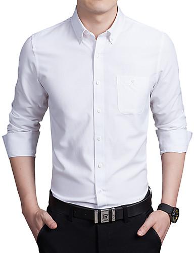 Bomull Tynn Store størrelser Skjorte Herre - Ensfarget