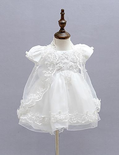 bebê Menina de Vestido Formal Sólido Todas as Estações Poliéster Manga Curta Branco