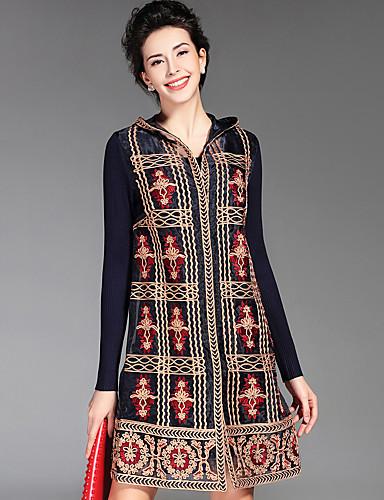 97f7a5073eff4 Kadın Günlük/Sade Boho A Şekilli Elbise Nakışlı,Uzun Kollu Kapşonlu Diz  üstü Mavi