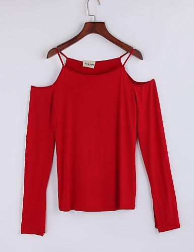 Med stropper Dame - Ensfarvet T-shirt Bomuld
