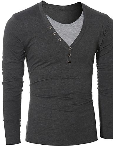 Homens Camiseta - Festa / Aniversário / Graduação Casual / Activo / Moda de Rua Fashion / Fivela / Patchwork, Sólido / Clássico / Moderno