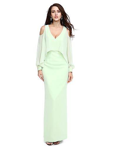 מעטפת \ עמוד צווארון וי עד הריצפה שיפון ערב רישמי שמלה עם חרוזים על ידי TS Couture®