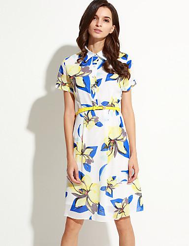 Damen Kleid-A-Linie Retro Druck Knielang Polyester Hemdkragen