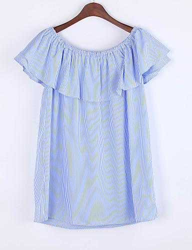 Damen Lose Kleid-Lässig/Alltäglich Einfach Gestreift Bateau Mini Kurzarm Andere Sommer Mittlere Hüfthöhe Mikro-elastisch