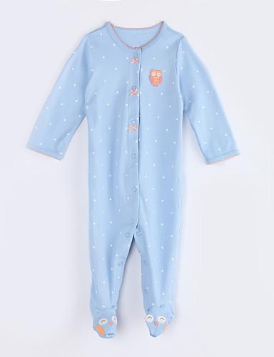 赤ちゃん 日常 水玉 コットン ワンピース 秋 長袖 ライトブルー