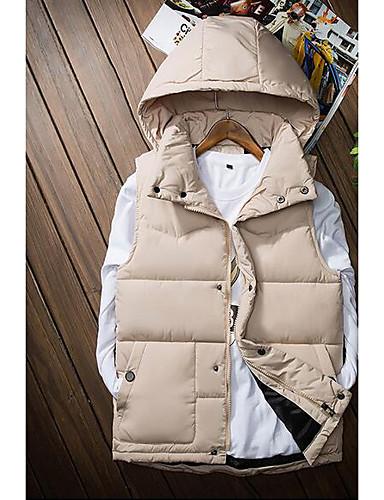 コート ダウン メンズ,カジュアル/普段着 ソリッド コットン 中綿なし-シンプル ノースリーブ フード付き