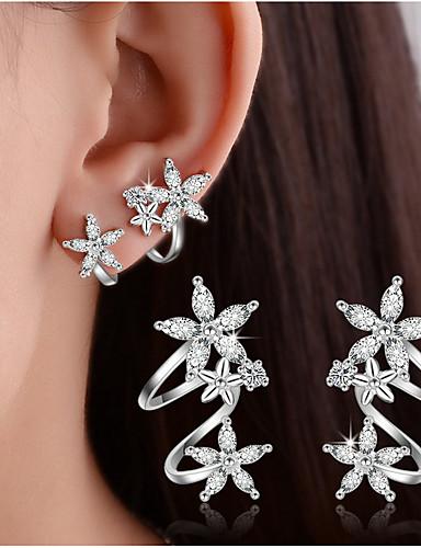 f92396ae4 Women's Crystal Synthetic Diamond cuff Stud Earrings Clip on Earring  Sterling Silver Earrings Leaf Heart Flower Ladies Basic Double-layer  Elegant Bling ...