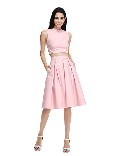 A-Line Jewel Neck Knee Length Cotton Bridesmaid Dress with Pockets Pleats by LAN TING BRIDE®