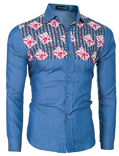 男性 カジュアル/普段着 オールシーズン シャツ,シンプル シャツカラー カラーブロック ブルー コットン 長袖 薄手