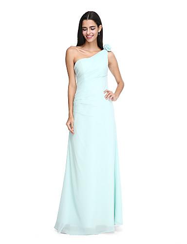 Funda / Columna Un Hombro Hasta el Suelo Raso Vestido de Dama de Honor con Flor Recogido Lateral por LAN TING BRIDE®