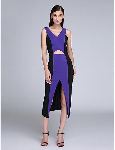 Eng anliegend V-Ausschnitt Tee-Länge Chiffon Cocktailparty Abschlussball Ball Kleid mit Vorne geschlitzt durch TS Couture®