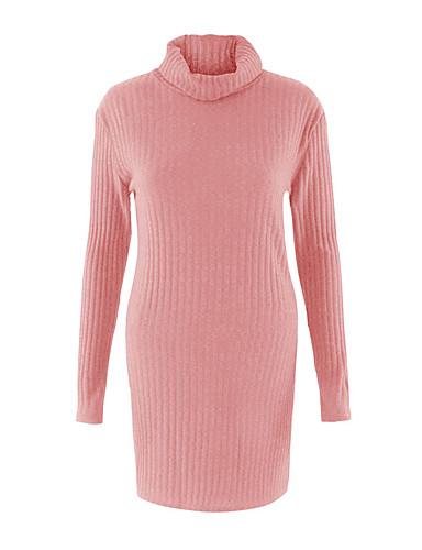 Dame Langærmet Lang Pullover - Ensfarvet Rullekrave