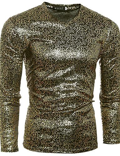 メンズ 日常 クラブ オールシーズン Tシャツ,パンク&ゴシック Vネック レタード コットン 長袖 ミディアム