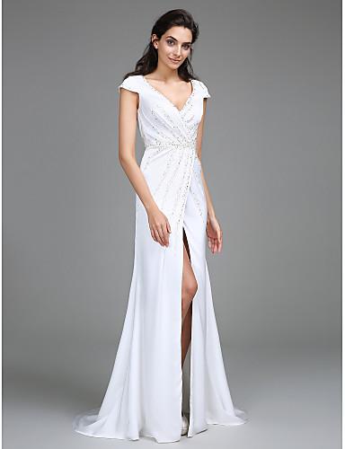 Sütun V-Yaka Süpürge / Fırça Kuyruk Saten Şifon Boncuklama Ayrık Yan Drape ile Düğün elbisesi tarafından LAN TING BRIDE®