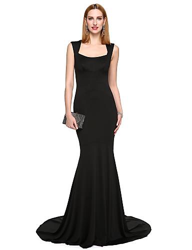 Trompeta / Sirena Escote Cuadrado Larga Satén Estirado Estilo de Celebridad Evento Formal Vestido con Plisado por TS Couture®
