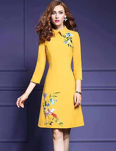 ffb80ab6df3 Women s Embroidery Going out Slim A Line Dress - Embroidered Peter Pan  Collar Fall Yellow Navy Blue M L XL