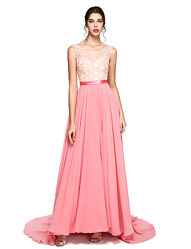 A-Line Illusion Neck Court Train Chiffon / Lace Beautiful Back Prom / Formal Evening Dress with Beading / Appliques / Sash / Ribbon by TS Couture®