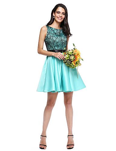 abordables Vestidos de Dama de Honor-Corte en A Joya Corta / Mini Encaje / Satén Vestido de Dama de Honor con Cinta / Lazo por LAN TING BRIDE®