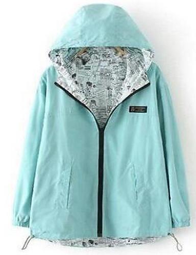 女性 お出かけ 秋 ソリッド ジャケット,シンプル フード付き ブルー / ピンク / グリーン コットン 長袖 ミディアム