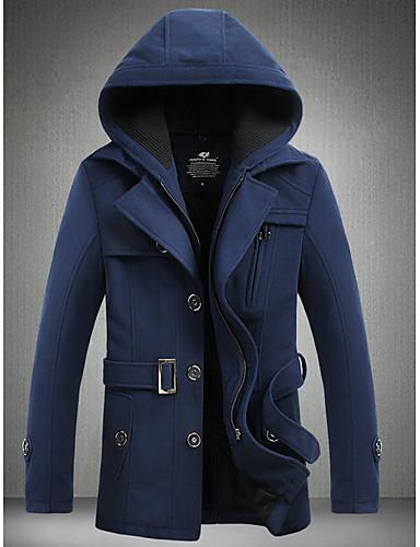 Polyester Normal Vintage Stil Langt Erme,Med hette Trenchcoat Helfarge Vinter Chic & Moderne Hverdag Herre