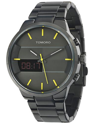 Hombre Reloj Deportivo / Reloj de Moda / Reloj de Vestir Calendario / Resistente al Agua / LED Acero Inoxidable Banda Lujo / Vintage / Casual Negro / Luminoso / Dos Husos Horarios