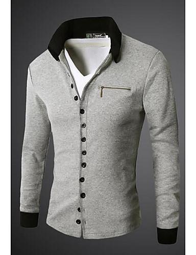 Bomull Hvit / Sort / Grå Medium Langermet,Skjortekrage Skjorte Ensfarget Høst Enkel Ut på byen / Ferie Herre