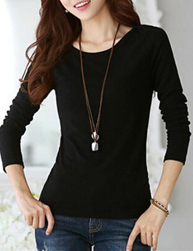 Bomull Spandex Store størrelser T-skjorte - Ensfarget Dame