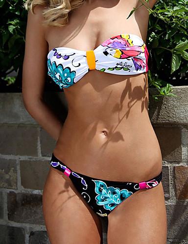 Nais- Polyesteri Kukkakuvio Bikini, Bandeau