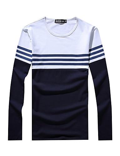 Bomull Blå / Hvit Medium Langermet,Rund hals T-skjorte Stripet / Fargeblokk Vår / Høst Vintage / Søt / GatemoteUt på byen /