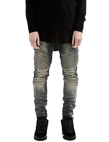 Herre Rett Store størrelser Jeans Bukser-Fritid/hverdag Vintage / Gatemote Ensfarget dratt Mellomhøyt liv Glidelås Bomull Mikroelastisk