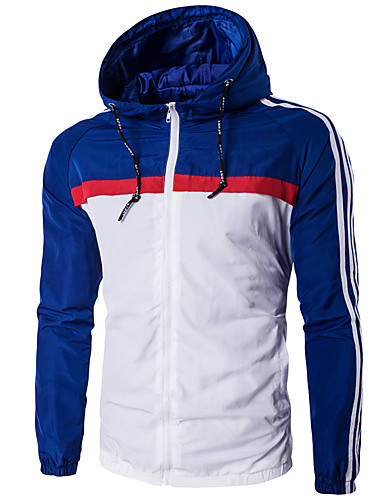 voordelige Herenjacks & jassen-Winter Jack Lange mouw Katoen / Rayon Zwart / Rood / Blauw