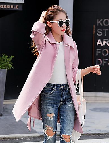 女性 お出かけ / ビーチ / ホリデー 秋 ソリッド コート,ストリートファッション シャツカラー ピンク ポリエステル 長袖 ミディアム