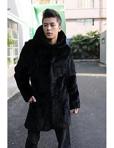 男性 カジュアル/普段着 冬 ソリッド ファーコート,シンプル フード付き ブラック フェイクファー 長袖 ミディアム