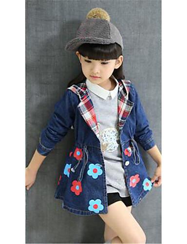 Para Meninas Jeans Terno & Blazer Casual Floral Primavera Outono Algodão Manga Longa