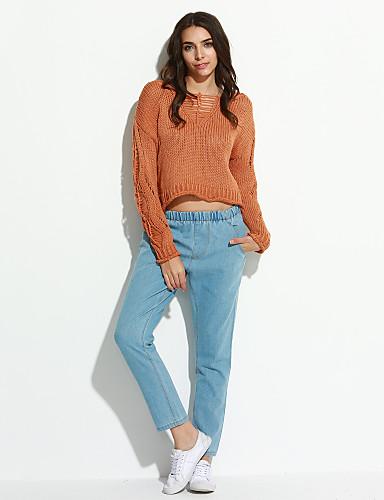 Damer Afslappet Mikroelastisk Jeans Bukser Bomuld Ensfarvet Sommer Efterår