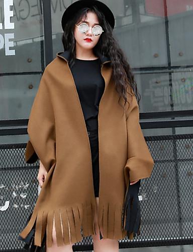 Ull Brun Medium Langermet,Skjortekrage Cloak / Capes Ensfarget Vintage Ut på byen / Fritid/hverdag-Høst / Vinter Dame