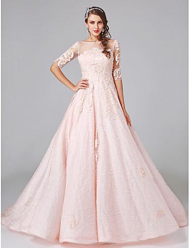 Báli ruha Mély dekoltázs Udvari uszály Csipke Tüll Sztreccs szatén Esküvői ruha val vel Kristály Gyöngydíszítés Rátétek Csipke általLAN