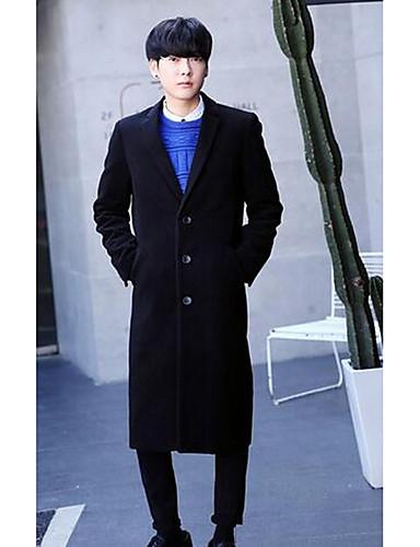 Polyester Blå / Sort Medium Langermet,Skjortekrage Frakk Ensfarget Enkel Ut på byen / Fritid/hverdag-Vinter Herre