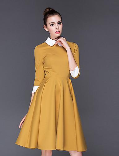 女性用 Aライン ドレス ソリッド シャツカラー