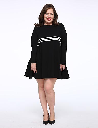 女性 シンプル カジュアル/普段着 Tシャツ ドレス,ソリッド ラウンドネック 膝上 長袖 ブラック コットン ミッドライズ マイクロエラスティック ミディアム