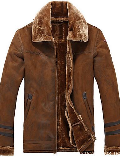 PU Brun / Gul Medium Langermet,Skjortekrage Jakke Ensfarget Vintage Fritid/hverdag-Vinter Herre